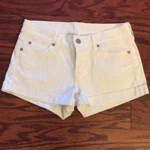 7 For All Mankind White Denim Cuffed Shorts